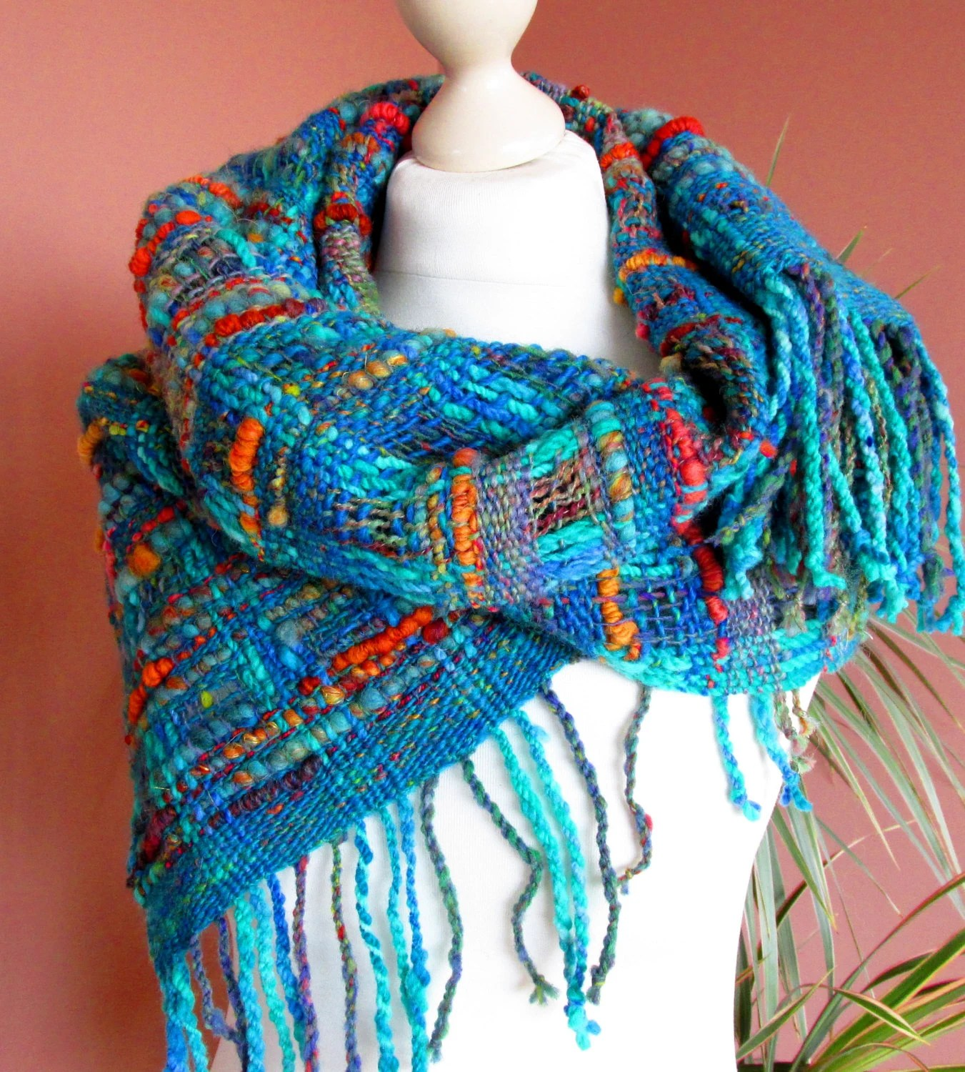 Rattan Yarn Handwoven Scarf Made Of Handspun Art Yarn.hand Woven Shawl.art