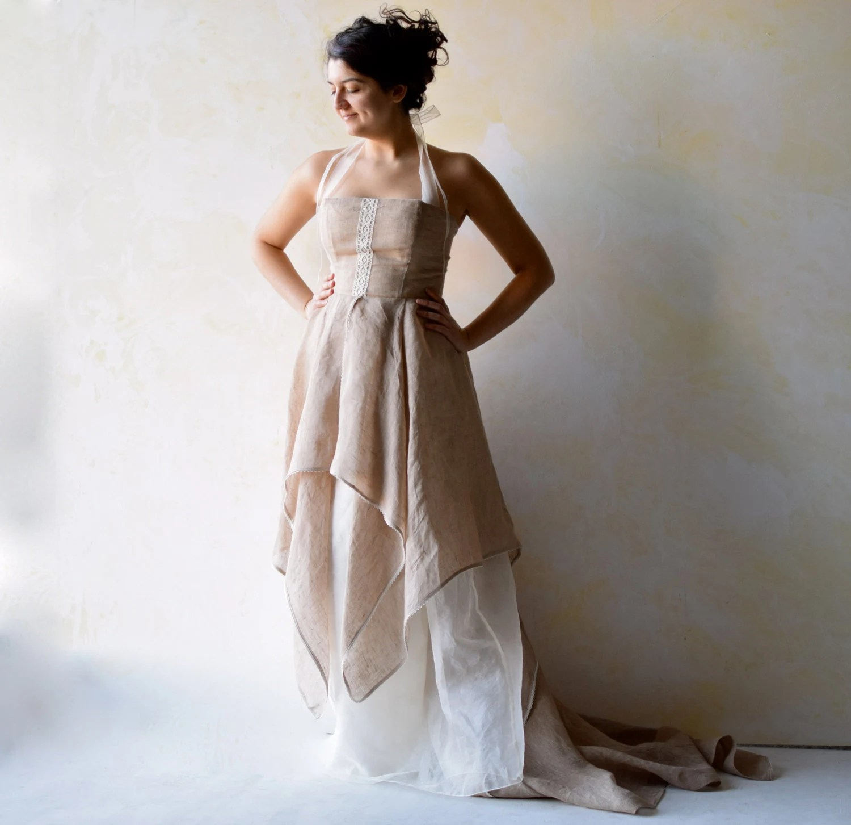 celtic wedding dress elvish wedding dress Wedding dress Woodland wedding dress Wedding Gown Fairy wedding dress Boho wedding dress Rustic wedding dress Alternative dress