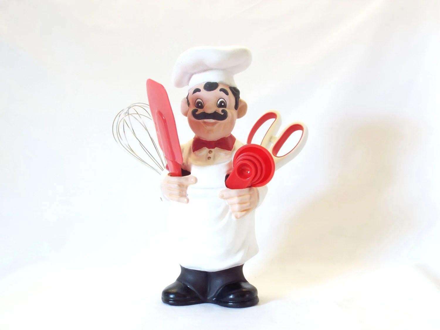 Chef Kitchen Utensil Holder Black Red And White Brand Name