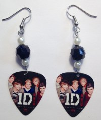 One Direction Guitar Pick Earrings by AuntShellDesigns on Etsy