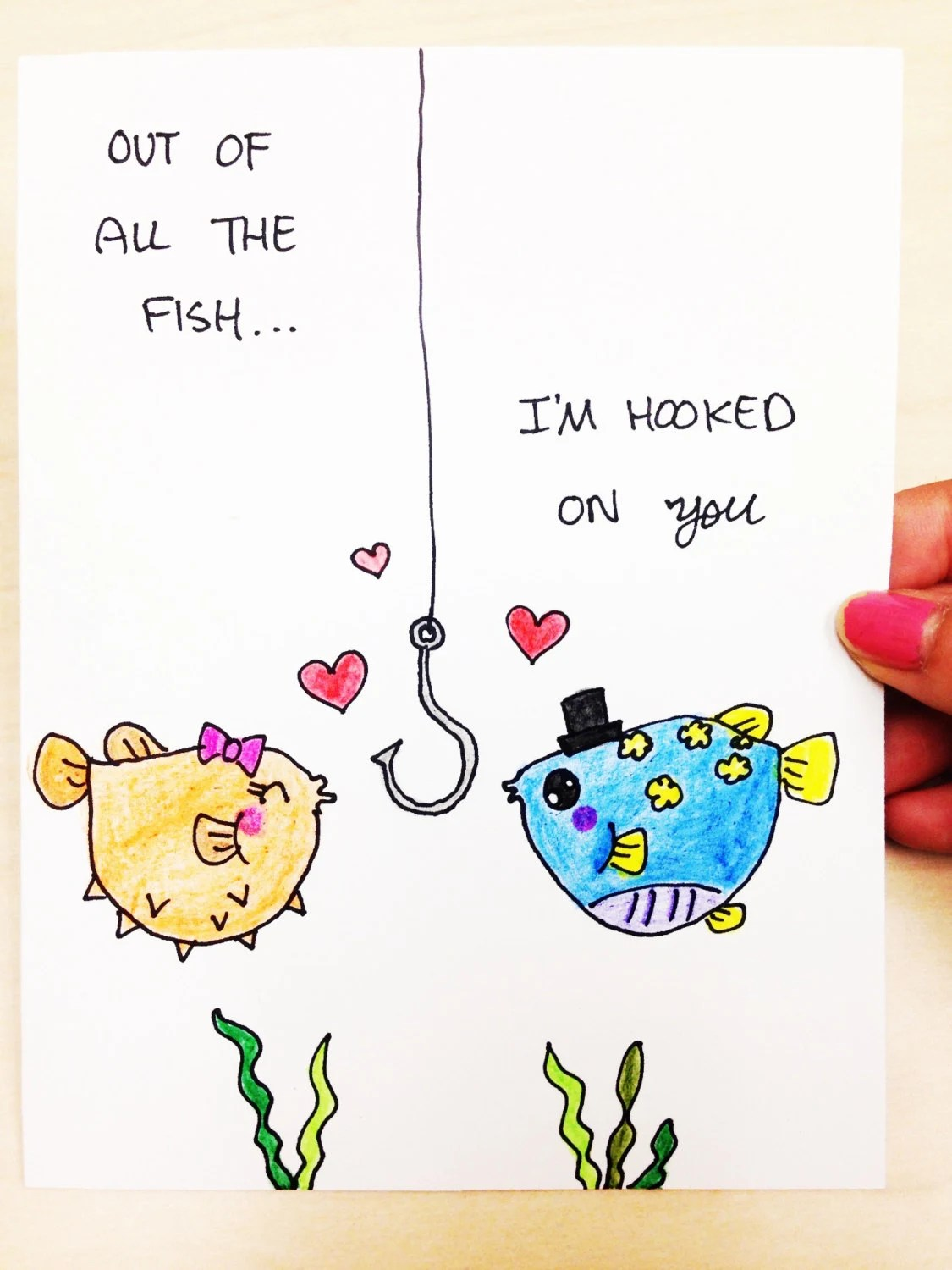 Valentines Day Card, Out of all the fish, Im hooked on you, hand - printable anniversary cards