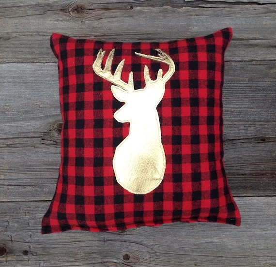 Buffalo Plaid Gold Pillow Deer Pillow Red and Black Plaid