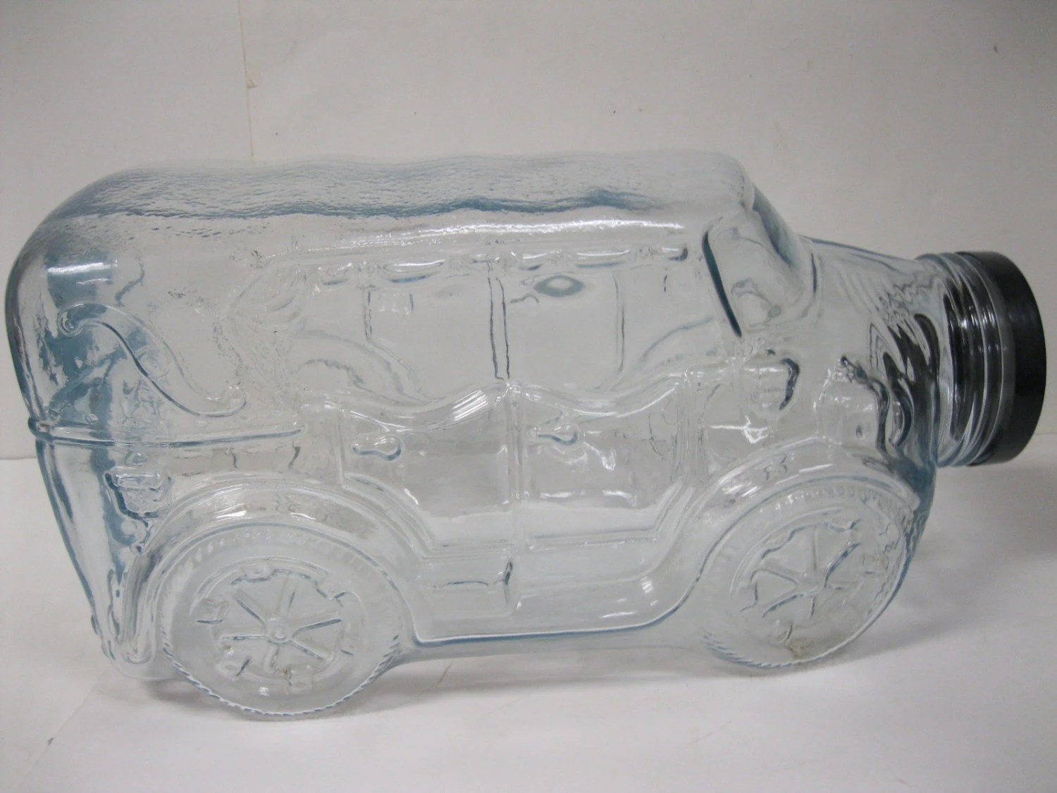 Huge Glass Cookie Jar Antique Automobile Large Clear Glass Jar Neat Find Collectible