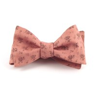 Pink Bow Tie Mens Dusty Salmon Floral Bowtie