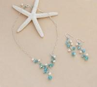 Beach Wedding Jewelry Set Pacific Opal Aqua Blue Necklace