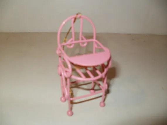 Cute Little Pink Metal Baby High Chair Knic Knac Display