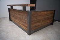 ADA reclaimed reception desk with full metal wrap