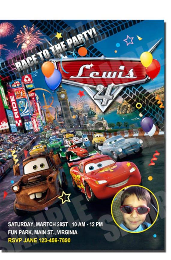 Disney Pixar Cars 2 Invitation Printable Birthday Party