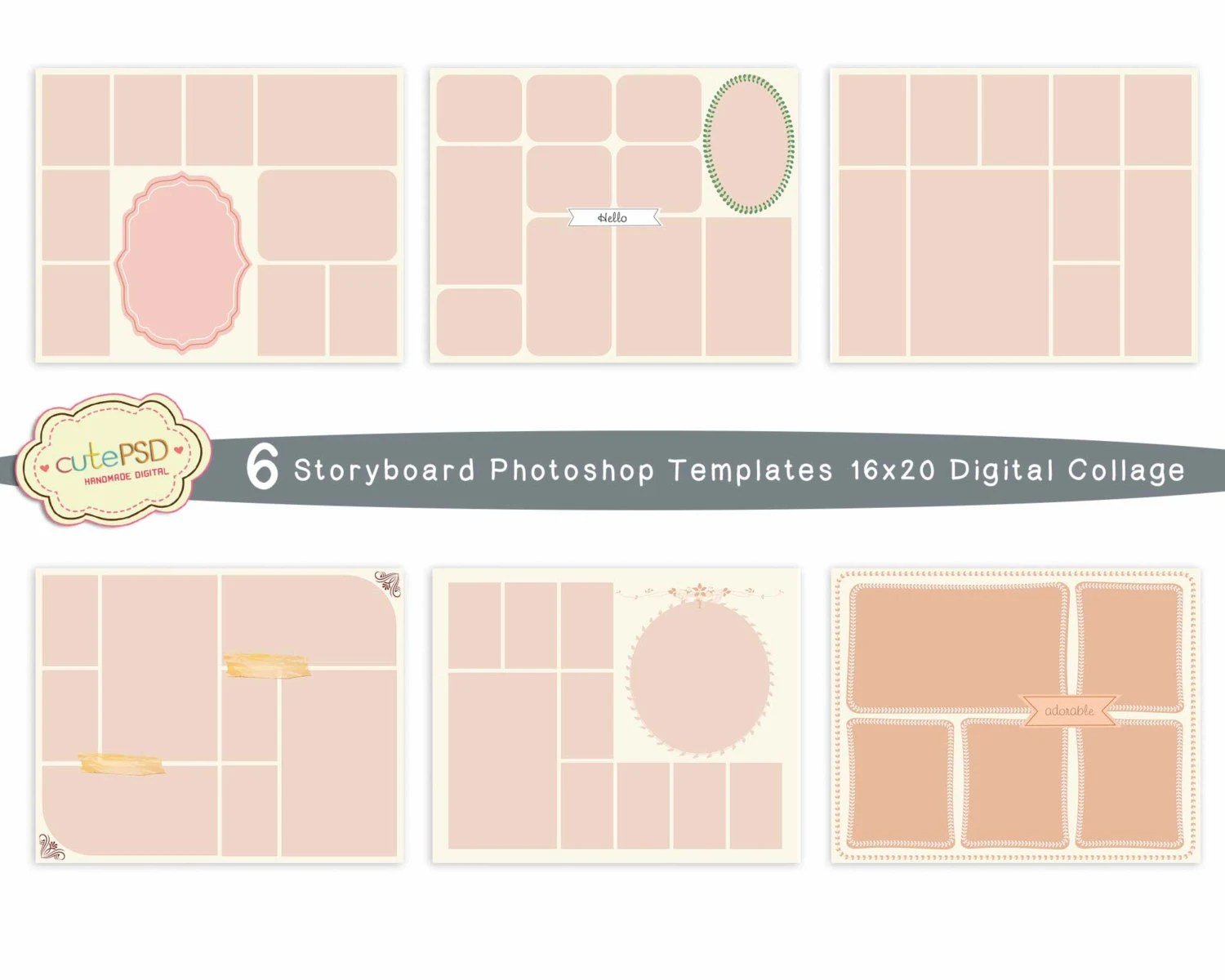 Photo Collage Templates - Photoshop Collage Templates - Storyboard - digital storyboard templates