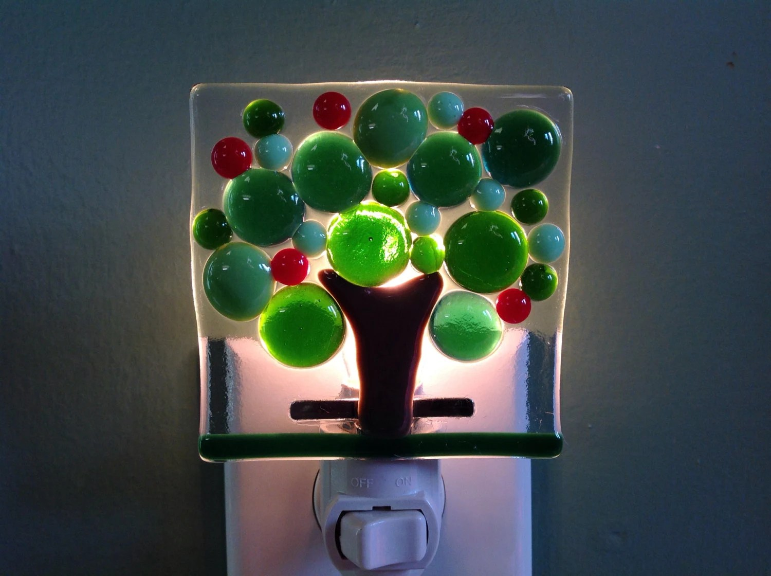 Glass Night Lights Apple Tree Apples Kitchen Farm Fused Glass Night Light