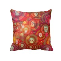 Sugar Skull Pillow Throw Pillows Sugar Skull by FolkandFunky