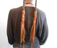 Handmade Leather Braid Wraps Fringe Hair Ties Hair