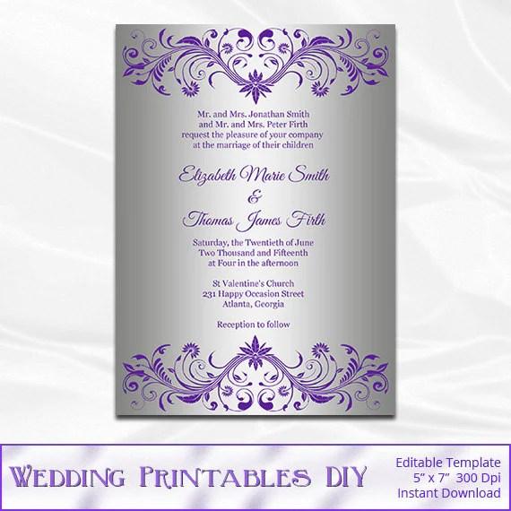 Silver Foil Wedding Invitation Template Diy Purple and Silver - bridal shower invitation templates for word