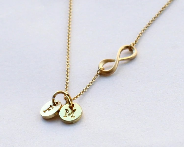 Infinity Necklace Personalized Initial Necklace By Birdshome
