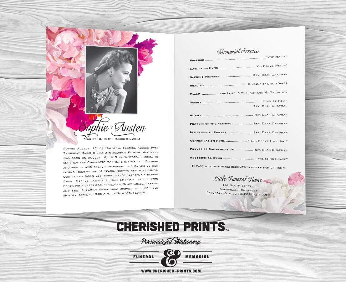 Beautiful Soft Peonies funeral program funeral folder - memorial program