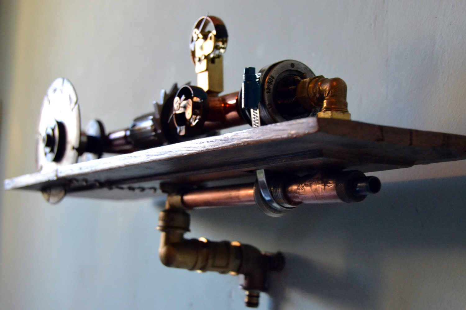 Steampunk Wall Shelves Sold Industrial Steampunk Shelf Wall Decor