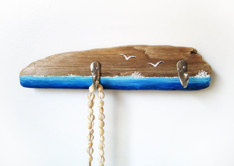 Driftwood Key Hook Hanger Holder Seagulls Ocean Scene