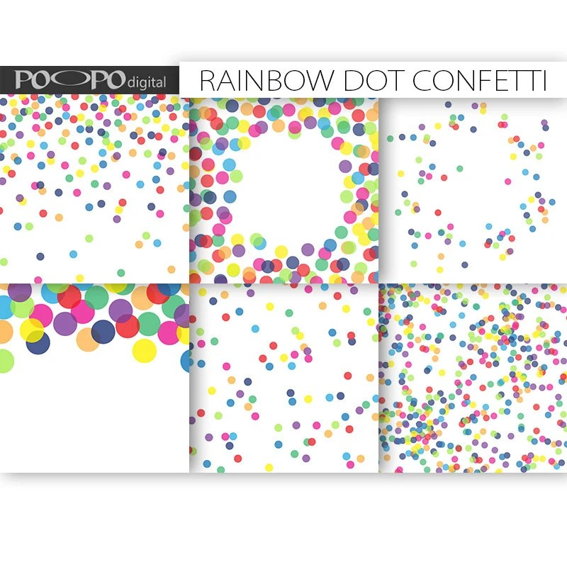 Rainbow digital paper dot scrapbook multicolor baby shower - dot paper template