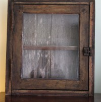 Original Primitive Medicine Cabinet with Aged Barnwood and
