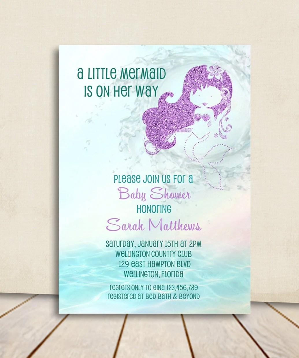 Mermaid Baby Shower Invitation - Turquoise and Purple Glitter Little