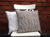 Beige Gray or Off-White Cable Knit Pillow Cover. 1818 inches