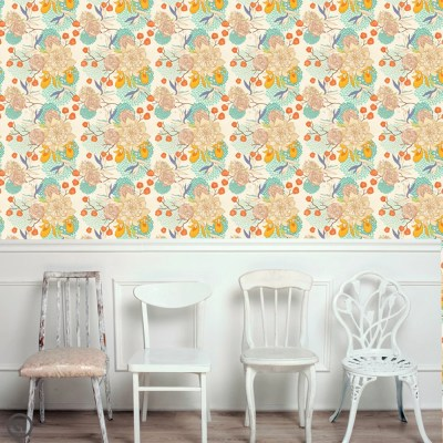 Removable Floral Wallpaper Bloom Peel & Stick Self Adhesive