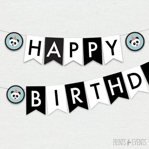 Printable Happy Birthday Banner - Panda Party by Prints For Events