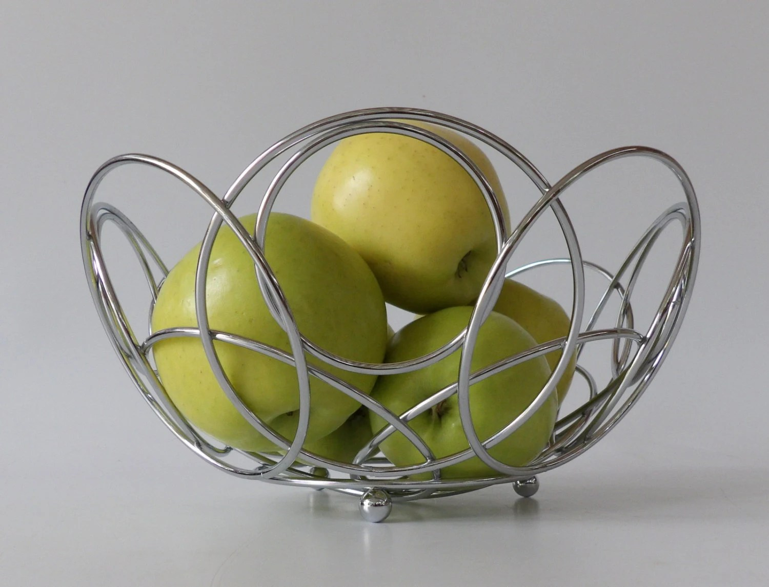 Chrome Decorative Bowl Chrome Fruit Basket Bowl Cosmic Retro Low By