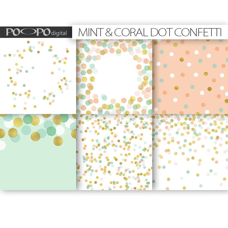 Coral mint gold scrapbook paper digital pattern dot wedding - dot paper template