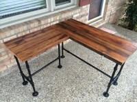 Reclaim Wood Desk L Table Solid Oak W/ 28 Black Iron