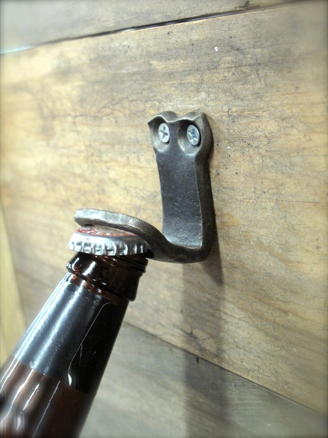 Handmade Fireplace Tools Bottle Opener Blacksmith Hand Forged Wall Mounted Wrought