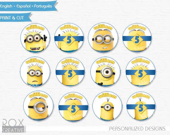Minions Birthday Cupcake Toppers Minions Favor Tags