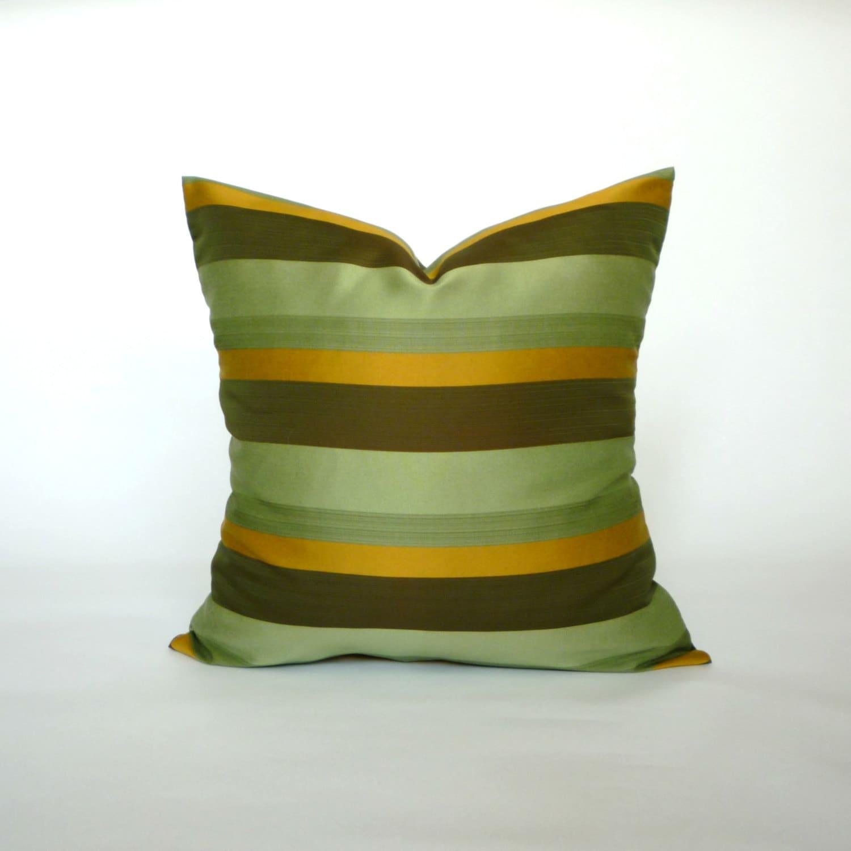 Vintage Green Light Green Dark Green Brown Gold Pillow