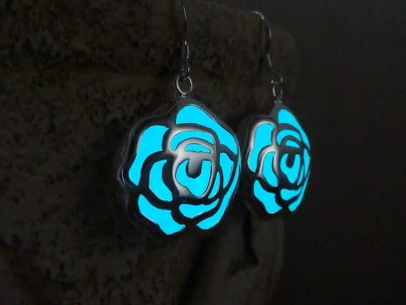 GLOW in the DARK Earrings Aqua Flowers Glowing Jewelry