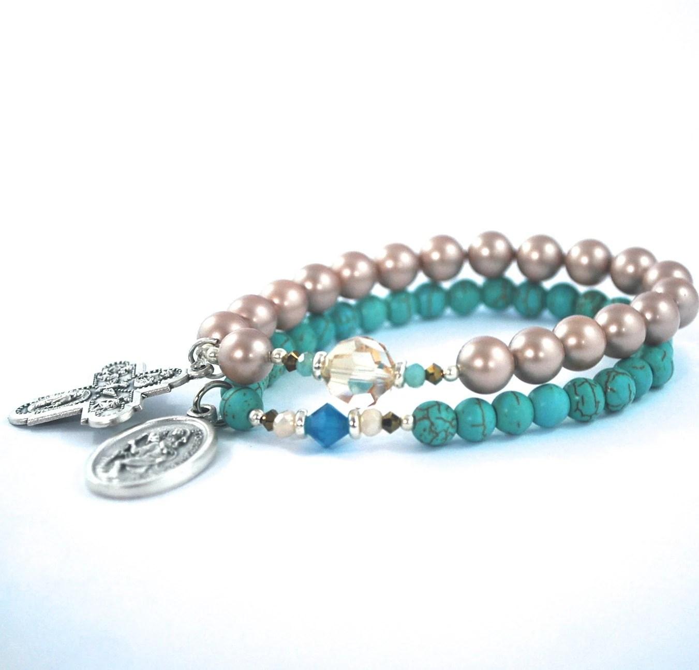 St Christopher Cross Catholic Bracelet Set Gold Pearl And