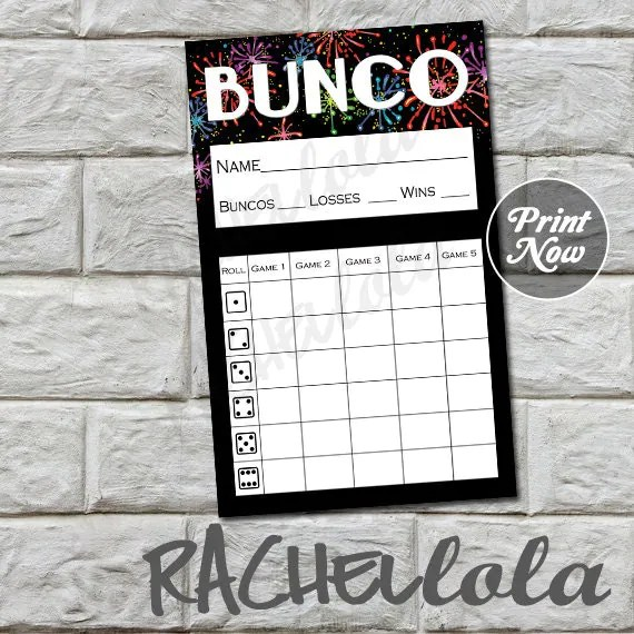 Fireworks bunco score card, score sheet, new years eve bunko party - bunco score sheets template