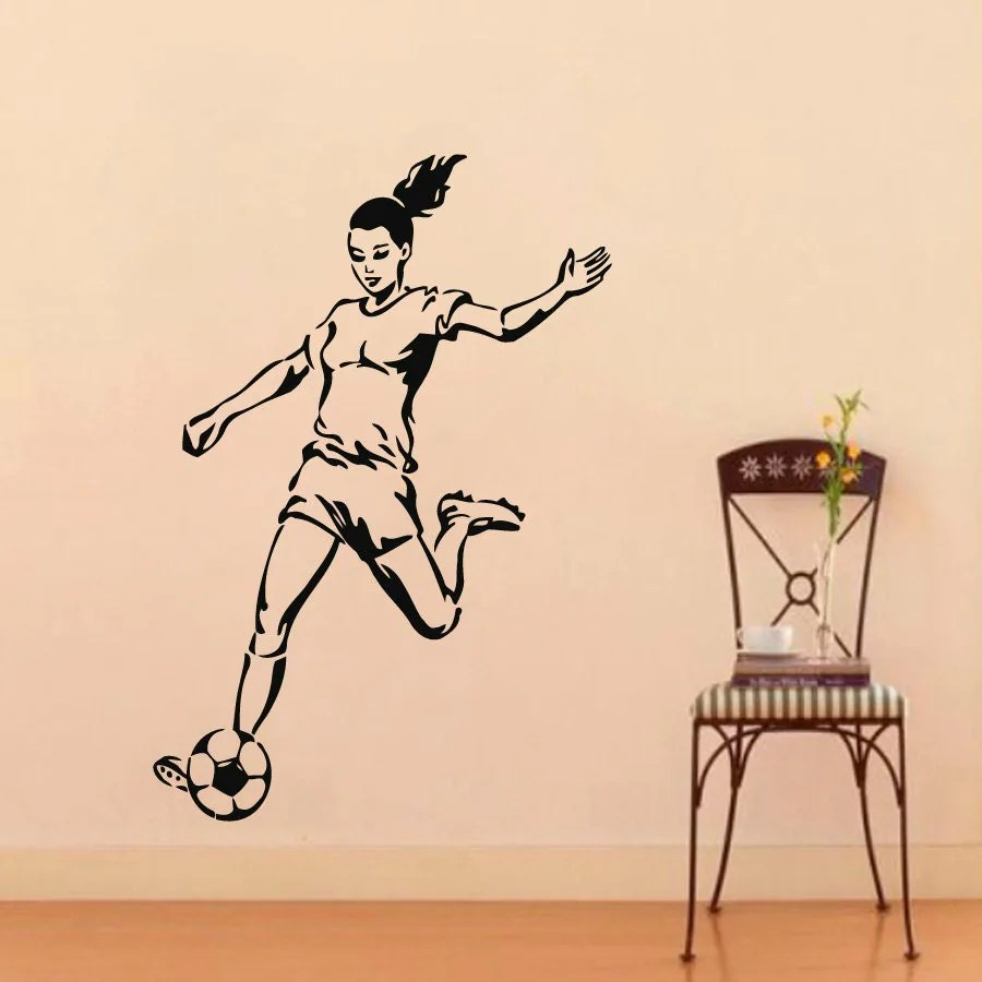 Soccer Wall Decals Girl Football Player Sport People Gym Decal
