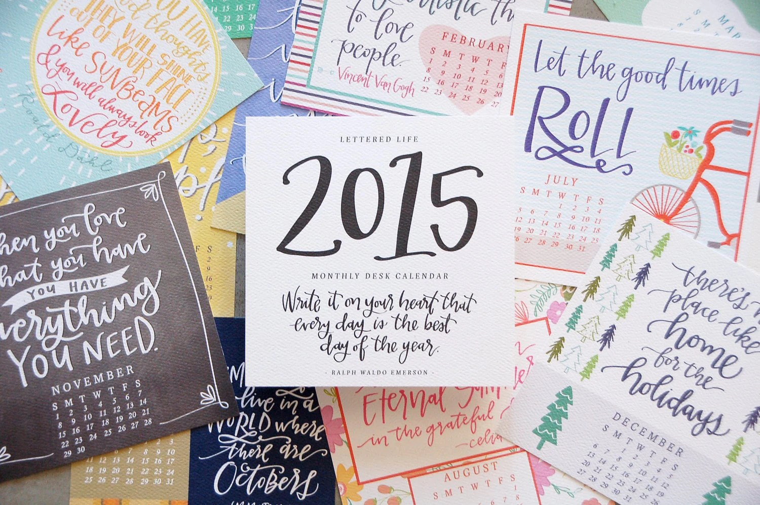 Baby Sack Onesie 2015 Inspirational Desk Calendar Handlettered Quote Calendar