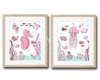 Pink bathroom wall art pink nautical nursery art pink ocean
