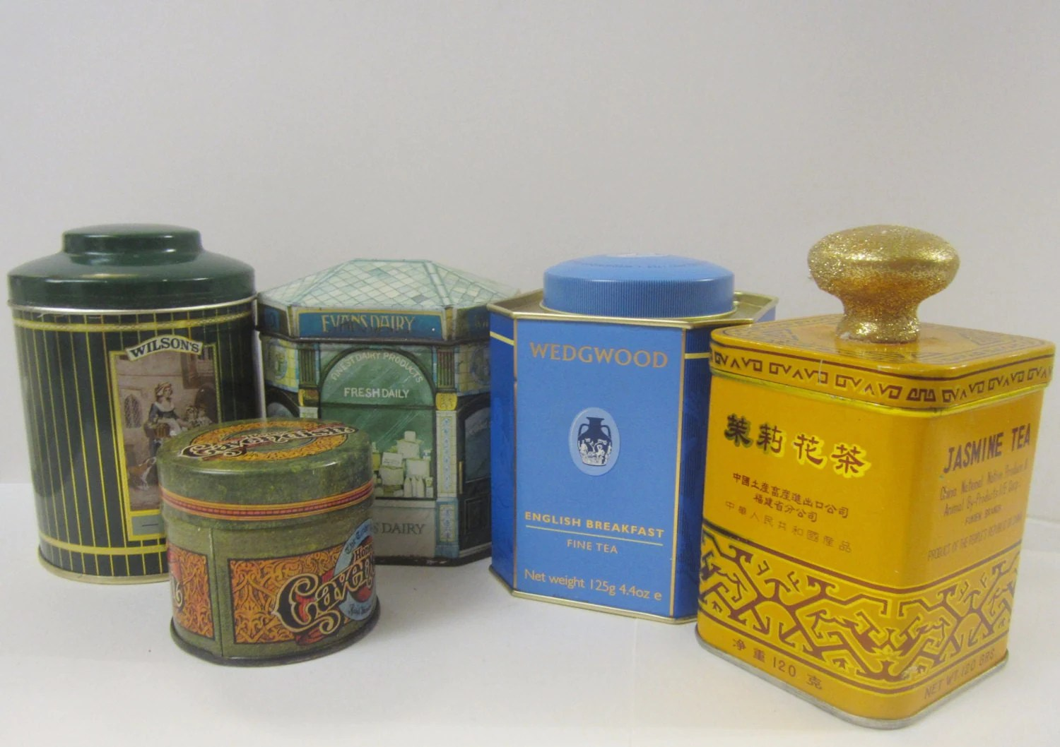 Tea Tins Lot Of 5 Collectible Vintage Tea Tins By Bobbiesvintageshoppe