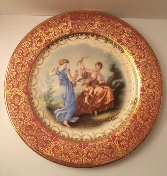 Vintage Homer Laughlin Plate Decorative Wine By