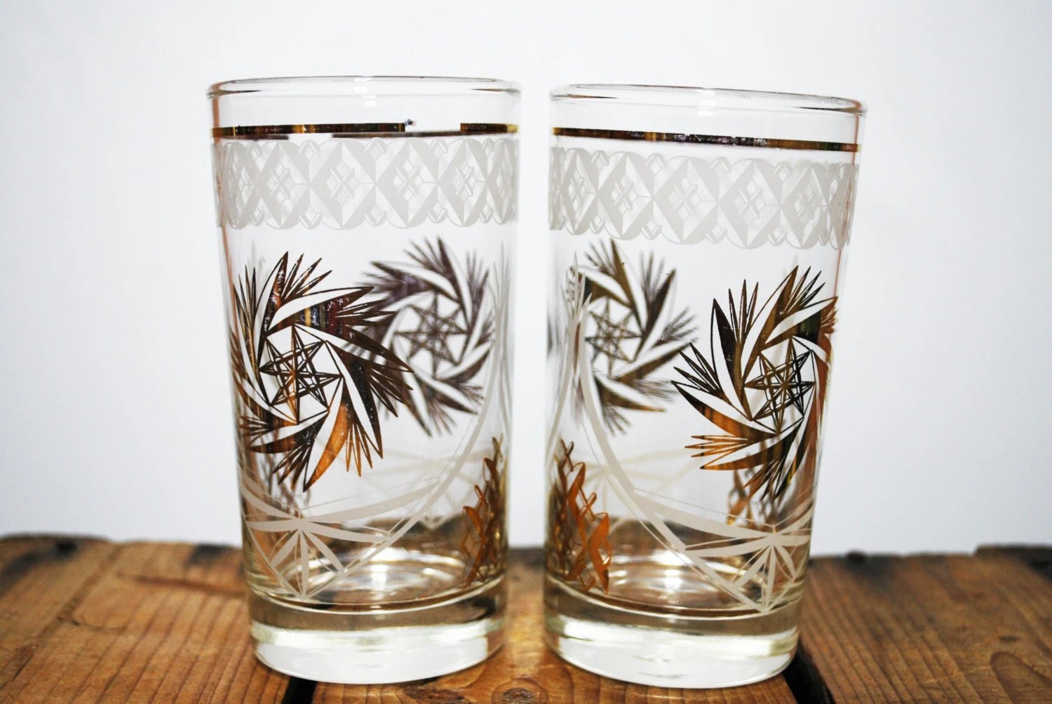 Drinking Glasses Designs Vintage Drinking Glasses With Gold Star Design Set Of 2