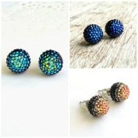 10mm flat back ball cabochon earrings resin rhinestone half