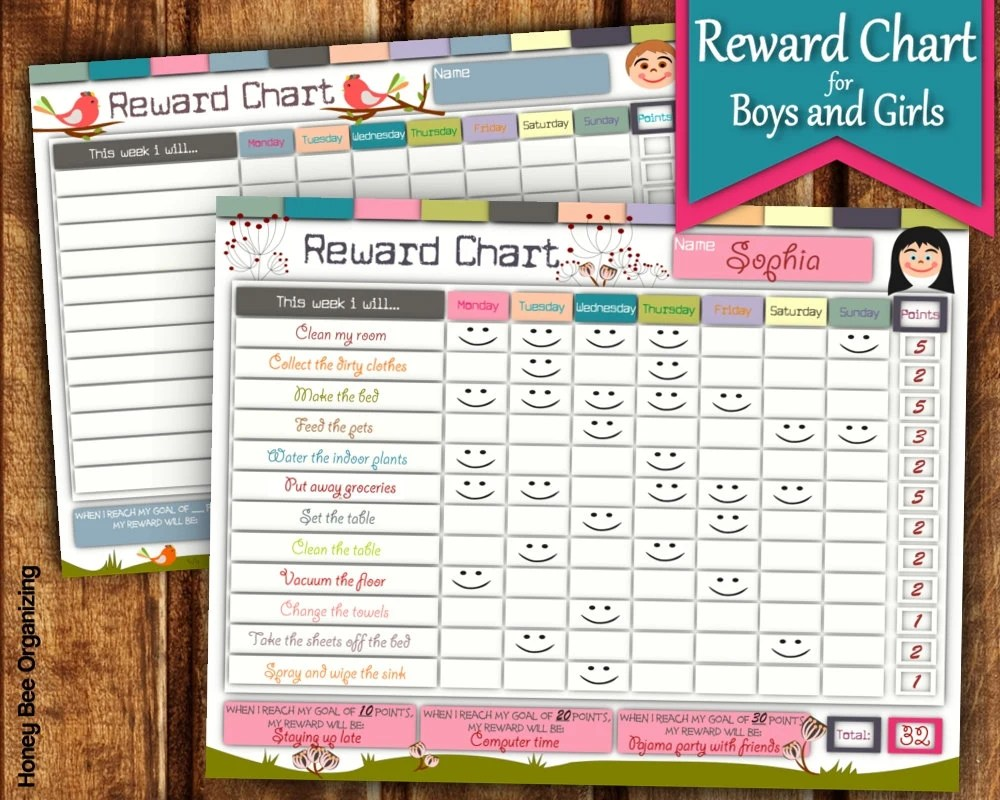 Printable Reward Charts For Kids 6 to 12 Years Old OMG! Gift Emporium - free printable reward charts for kids