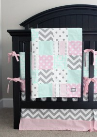 Pink Mint and Grey Baby Bedding Pink Girl Crib Bedding