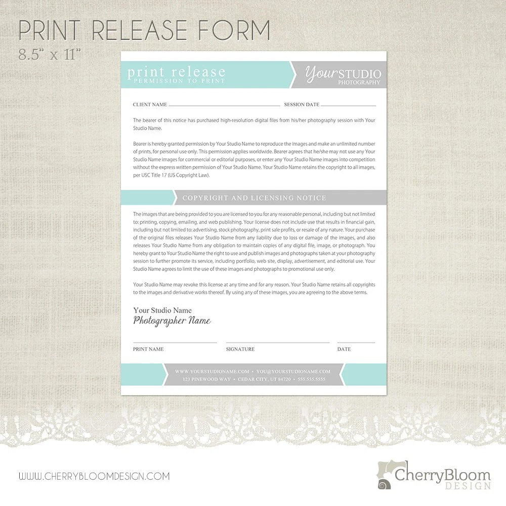 Print Release Form Template for Photographers Photographer - print release form