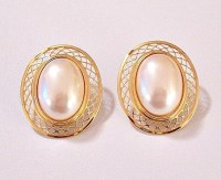 Monet Oval Pearl Lattice Clip On Earrings by