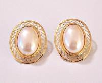 Monet Oval Pearl Lattice Clip On Earrings by
