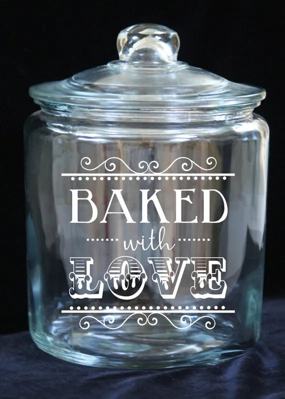 "Keksdose Glas Items Similar To 1 Gallon Glass Cookie Jar - ""baked With"