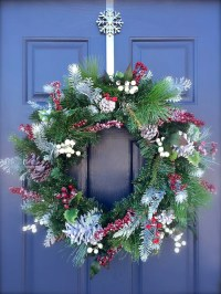 Winter Wreaths Evergreen Door Decor Snow Red Berries Cabin